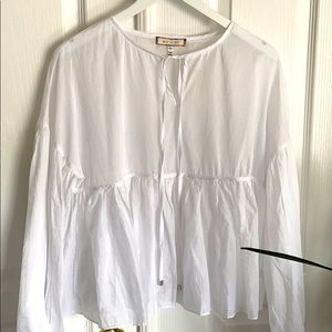 Anthropologie eri + ali white cotton top